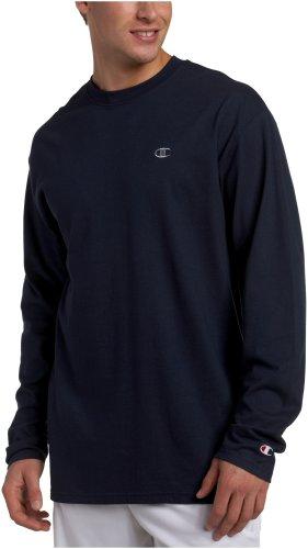 Champion Men's Long Sleeve T-Shirt, Navy, Large