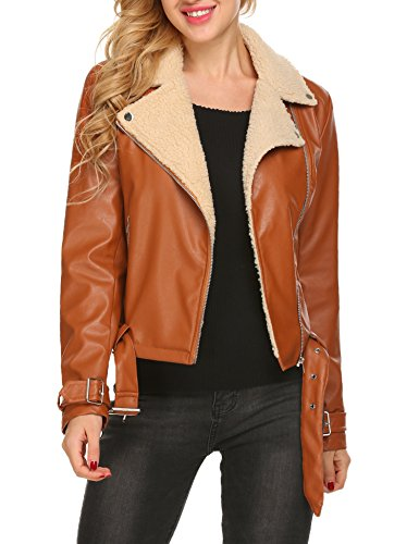 Long Sleeve Shearling Faux Leather Zip up Belted Motorcycle Coat Jackets (Faux Shearling Bomber Jacket)