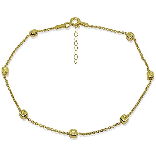 - Yellow Gold Flashed Sterling Silver Italian Polished Square Cube Bead Station Cable Chain Anklet