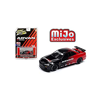 Johnny Lightning New DIECAST Toys CAR 1:64 50TH Anniversary Nissan GT-R R34 ADVAN Yokohama Limited Edition 4,800 MIJO Exclusives (Black RED) JLCP7217-24: Toys & Games