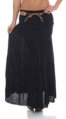 avec jupe 1116 Noir ceinture Unique Stretch Taille A Maxi Femme t ligne malito Zg5w4qq
