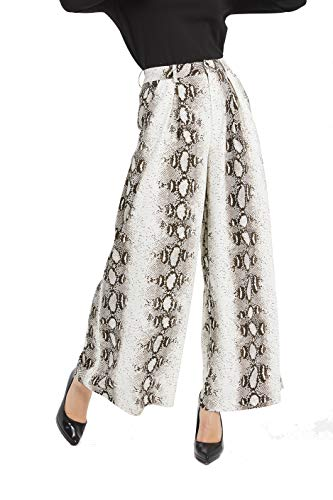 Tronjori Women High Waist Casual Wide Leg Long Palazzo Snake Skin Pants Trousers(L, Coffee Snake Skin)