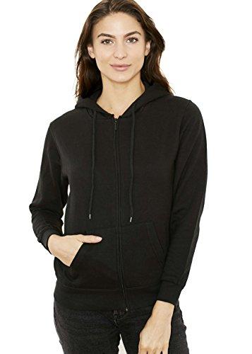Black Hooded Sweatshirt Hoodie (New York Avenue Women's Hooded Sweatshirt - Traditional Fit Soft Light Fleece Zip Up Hoodie - Black - Large - by)
