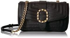 Chevron shoulder bag with faux pearl buckle detail