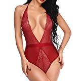 Women Sexy Lingerie Bodysuit Deep V Neck Backless Halter Teddy Perspective Lace Babydoll Underwear (XL, Red)