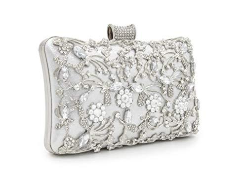 Bag Rhinestone for women Bag FIVE Purse FLOWER Clutch Shoulder Silver Evening Handbags q5SwS8Cz