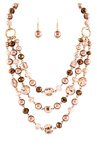 "Imitation Pearl Brown (Allegro Brown Imitation-Pearl, Copper-Color & Ombre Finish Beige Bead 3 Line Layered Bib Necklace & Earrings 18"")"