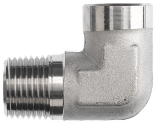 "Brennan 5502-02-02-SS Stainless Steel Pipe Fitting, 90 Degree Elbow, 1/8"" NPT Male X NPT Female"