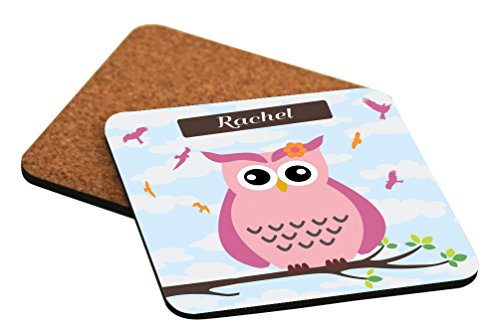 Rikki Knight Rachel Name - Cute Pink Owl on Branch with Personalized Name Design Cork Backed Hard Square Beer Coasters, 4-Inch, Brown, 2-Pack -