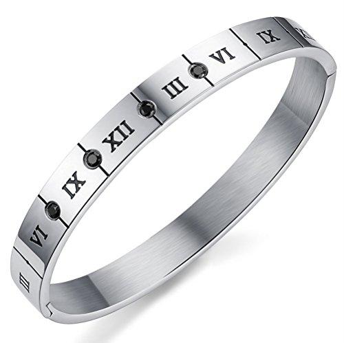Gorgeous Jewelry Black Men Titanium Steel Lovers Roman Numerals Wrap Bracelet with Black Zircon