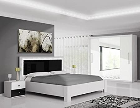 New Modern Bedroom Furniture Set Linda White And Black Gloss Amazon Co Uk Kitchen Home
