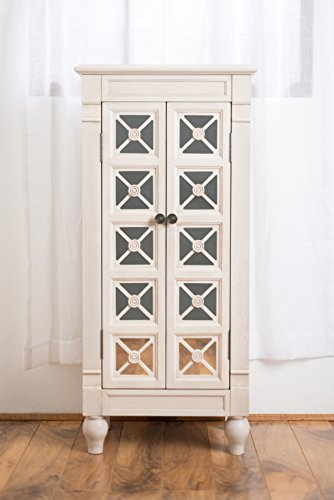 Oak Mirror Jewelry Armoire - Hives and Honey Celene Jewelry Armoire, Century White