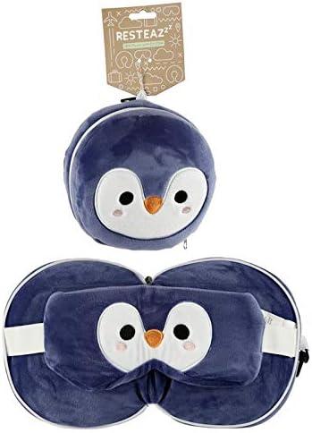 Puckator Resteazzz Peluche Cutiemals Penguin Almohada de viaje redonda y m/áscara de ojos
