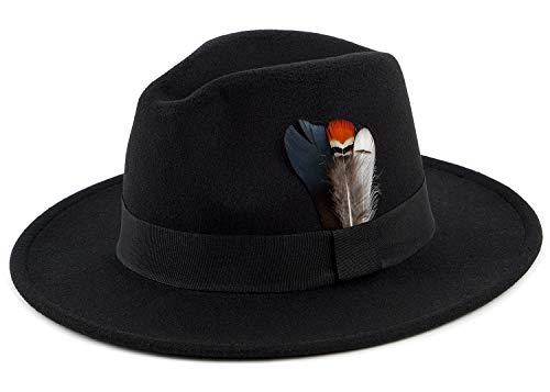 Fedora Hat Felt Panama Crushable Vintage Style with Black Band and Feathe