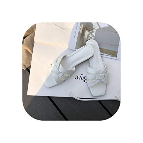 Flat Casual Slippers Daily Summer Beach Flip Flops Vacation Sandal Footwear,White,8.5 ()