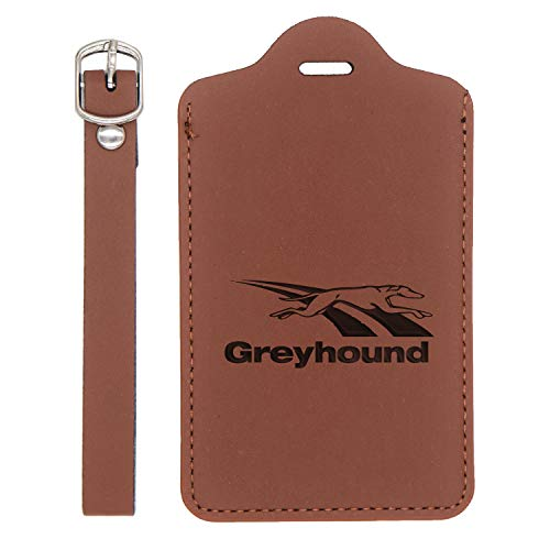 Greyhound Bus Lines Engraved Synthetic Leather Luggage Tag (Chestnut Brown) - United States Standard - Handcrafted By Mastercraftsmen - For Any Type Of Luggage