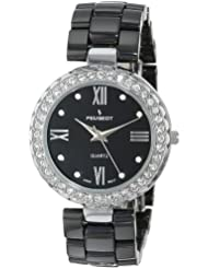 Peugeot Womens 7078SBK Black Ceramic and Swarovski Crystal Watch