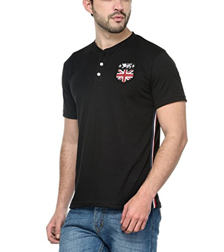 Teesort Men's Half Sleeves Henley T-Shirt With Embroidered Patch