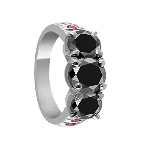 Certified 2.05 Ct Round Brilliant Cut Black Diamond with Ruby Accents Silver Ring by Barishh