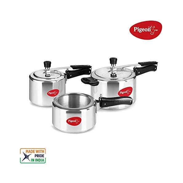 Pigeon-Aluminium-Pressure-Cooker-Combo-2-3-5-Litre-Inner-Lid-with-Induction-base