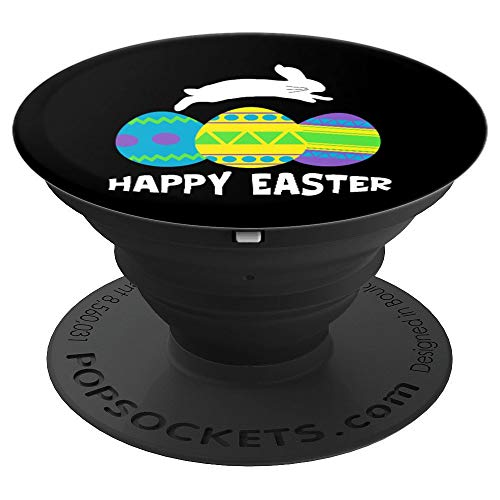 Happy Easter Bunny Jumping And Colorful Easter Eggs Lover - PopSockets Grip and Stand for Phones and Tablets ()
