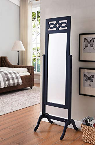 Kings Brand Furniture Verne Navy Blue Finish Wood Free Standing Floor Mirror ()
