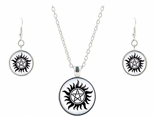 - New Horizons Production Supernatural Anti-Possession Glass Domed Pendant Necklace, Earring Set W/Gift Bag