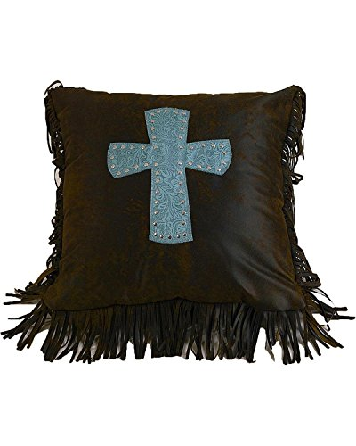 HiEnd Accents Cheyenne Western Accent Pillow, Turquoise Cross Cheyenne Bedding