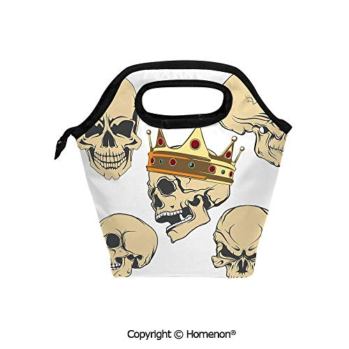 Insulated Neoprene Soft Lunch Bag Tote Handbag lunchbox,3d prited with Skulls Different Expressions Evil Face Crowned Death Monster Halloween,For School work Office Kids Lunch Box & Food Container]()