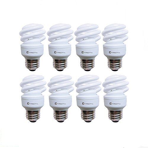 Compact Fluorescent Light Bulb T2 Spiral CFL, 5000k Daylight, 9W (40 Watt Equivalent), 540 Lumens, E26 Medium Base, 120V, UL Listed (Pack of 8) -