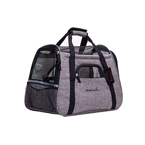 XGPT Pet Travel Carrier Dog/Cat/Puppy Lightweight Luxury Folding Airplane Bag with Soft Cushion,Gray For Sale