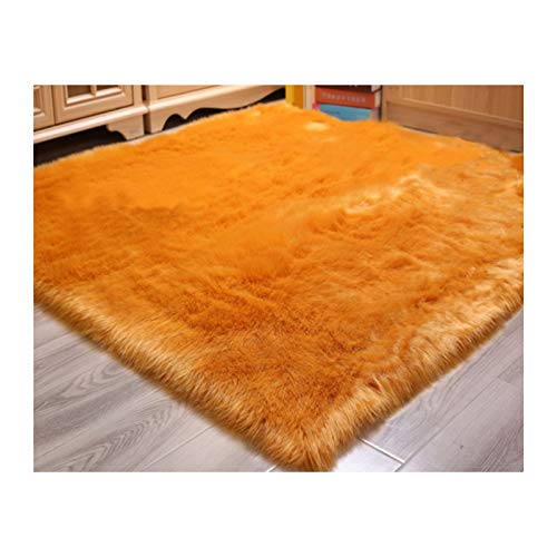 Elhouse Home Decor Soft Mat Square Rugs Faux Fur Sheepskin Area Rug Baby Nursery Bedroom Shaggy Carpet Fluffy Rug, 5ft x 5ft Gold