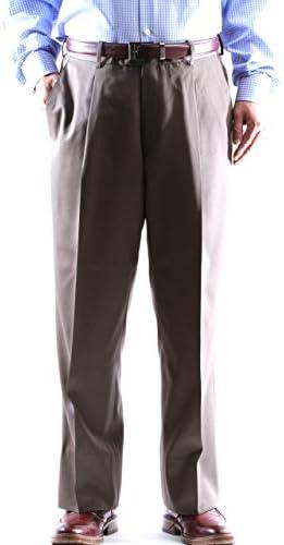 Men`s 100% Virgin Wool Super Gabardine Taupe Dress Pants