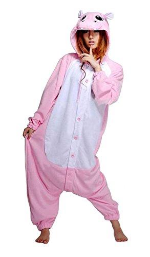 [Unisex Adult Pink Hippo Kigurumi Animal Onesie Pajamas Costume Cosplay Clothing Sleepwear Romper] (Role Reversal Halloween Costumes)