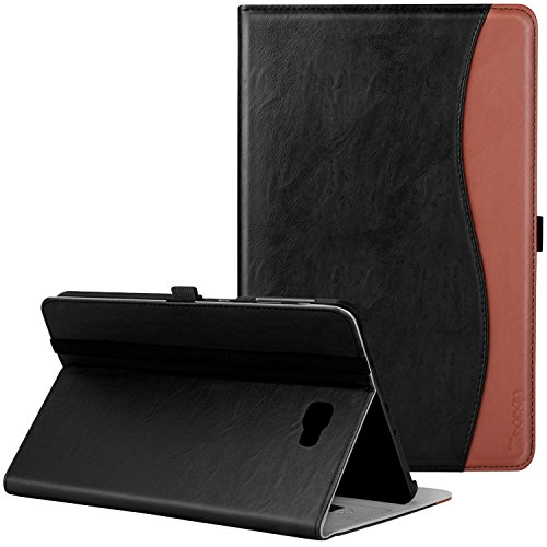 Samsung Galaxy Tab A 10.1 Case - Ztotop Leather Folio Case Cover for Samsung 10.1 Inch Tablet SM-T580 T585(NO S Pen Version) with Auto Wake/Sleep and Card Slots, Multiple Viewing Angles, Black-Brown