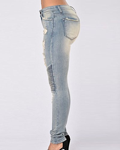Como Mujeres Pantalones Pantalones Denim Imagen Vaqueros Lápiz Jeans Skinny Apqz1O