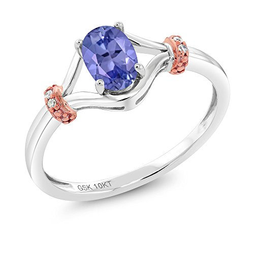 10K Two Tone Gold 0.48 Ct Oval Blue Tanzanite and Diamond Engagement Ring