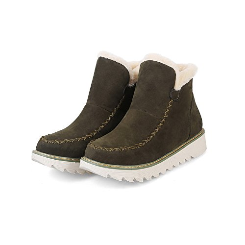 Suede Heel Snow Bronze No Womens Warm Boots No Lining Boots Resistant Rubber Road Quilted Bootie Suede Boots 1TO9 Closure Water MNS02492 xgqZnR00Y