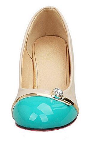 AllhqFashion Damen Ziehen auf Mittler Absatz Lackleder Gemischte Farbe Rund Zehe Pumps Schuhe Blau