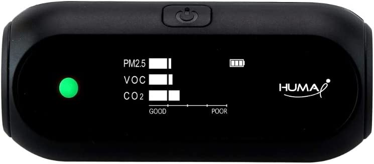 VOC Huma-i Advanced Portable Air Quality Monitor Indoor and Outdoor Measures CO2 Particle Matter Temperature and Humidity HI-150 Black PM2.5 and PM10