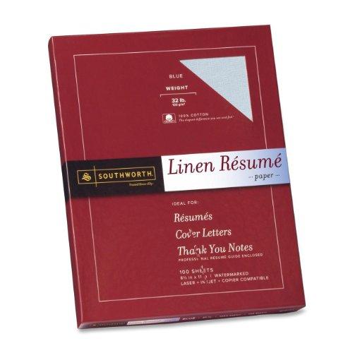 Southworth Linen Résumé Paper, Blue, 32 Pounds, 100 Count (RD18BCFLN)