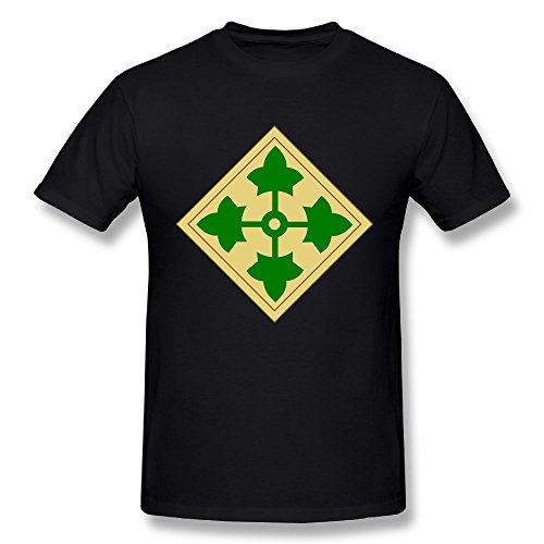 US Army 4th Infantry Division Mens Short Sleeve Shirts Graphic T Shirts Tee