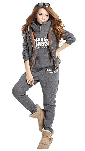 Blansdi Women Hooded Thicker Casual Sport Sweatshirt Vest Long Pants 3 Piece Set Outfits Petit Point Dinner