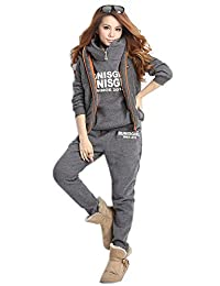 Blansdi Women Hooded Thicker Casual Sport Sweatshirt Vest Long Pants 3 Piece Set Outfits