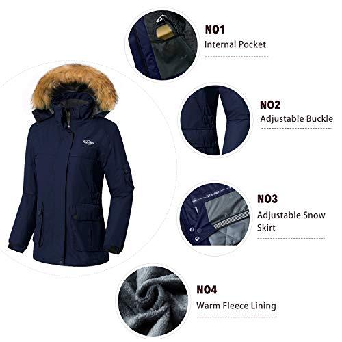 Wantdo Women's Waterproof Ski Jacket Windproof Winter Snow Coat Mountain Snowboarding Jackets Outdoor Fleece Parka