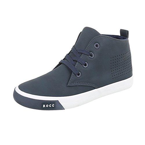 Ital-Design Sneakers High Damenschuhe Sneakers High Sneakers Schnürsenkel Freizeitschuhe Dunkelblau WD20166B