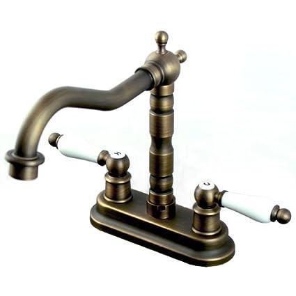Vintage Centerset Antique Brass Finish 4-inch Widespread Bathroom ...