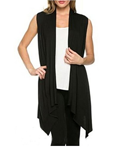 Camisa de las mujeres sin mangas Mujer Cardigan Chaleco Negro ( L )