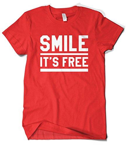 Cybertela Men's Smile It's Free T-Shirt (Red, Medium)