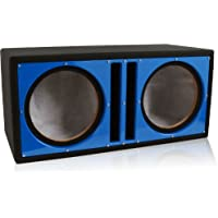 Belva Dual 10-inch Car Ported Subwoofer Box 3/4 -inch MDF Prelined Polyfil Includes Custom Satin Blue Baffle [BBX110BL]